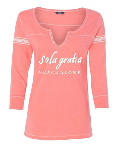 Image of T-Shirts - Sola Gratia Grace Alone Three Quarter Sleeve Scoop Neck Christian Shirt - *Order One Size UP*