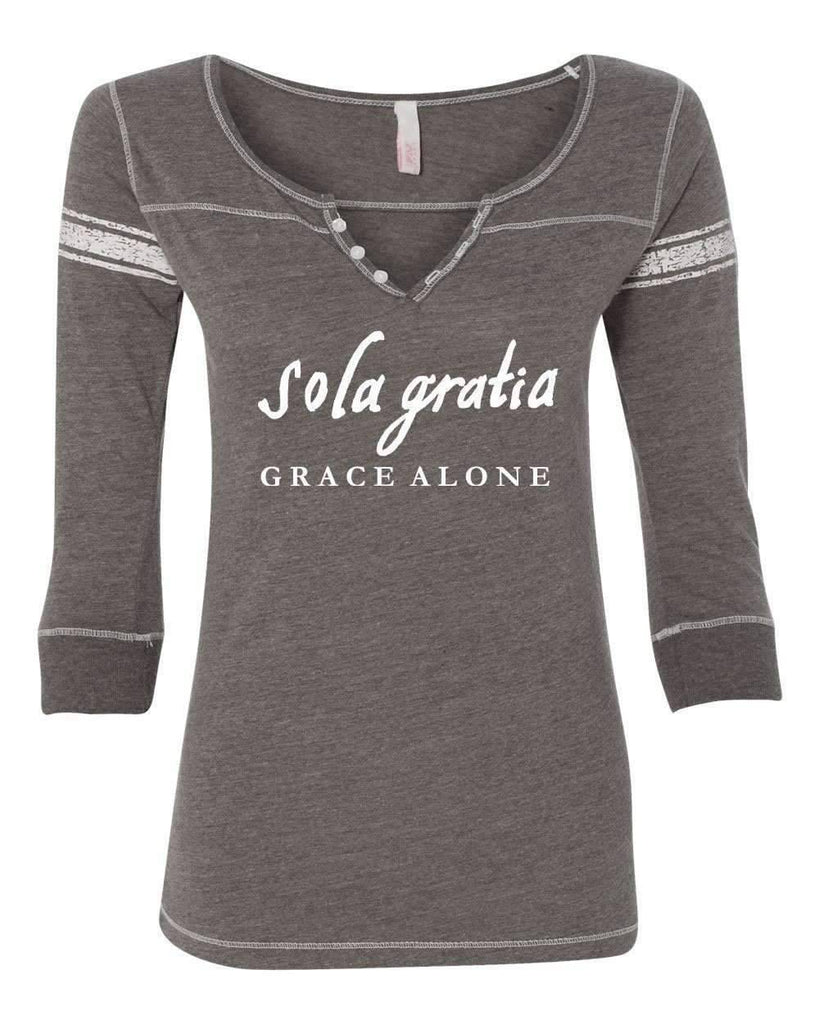T-Shirts - Sola Gratia Grace Alone Three Quarter Sleeve Scoop Neck Christian Shirt - *Order One Size UP*