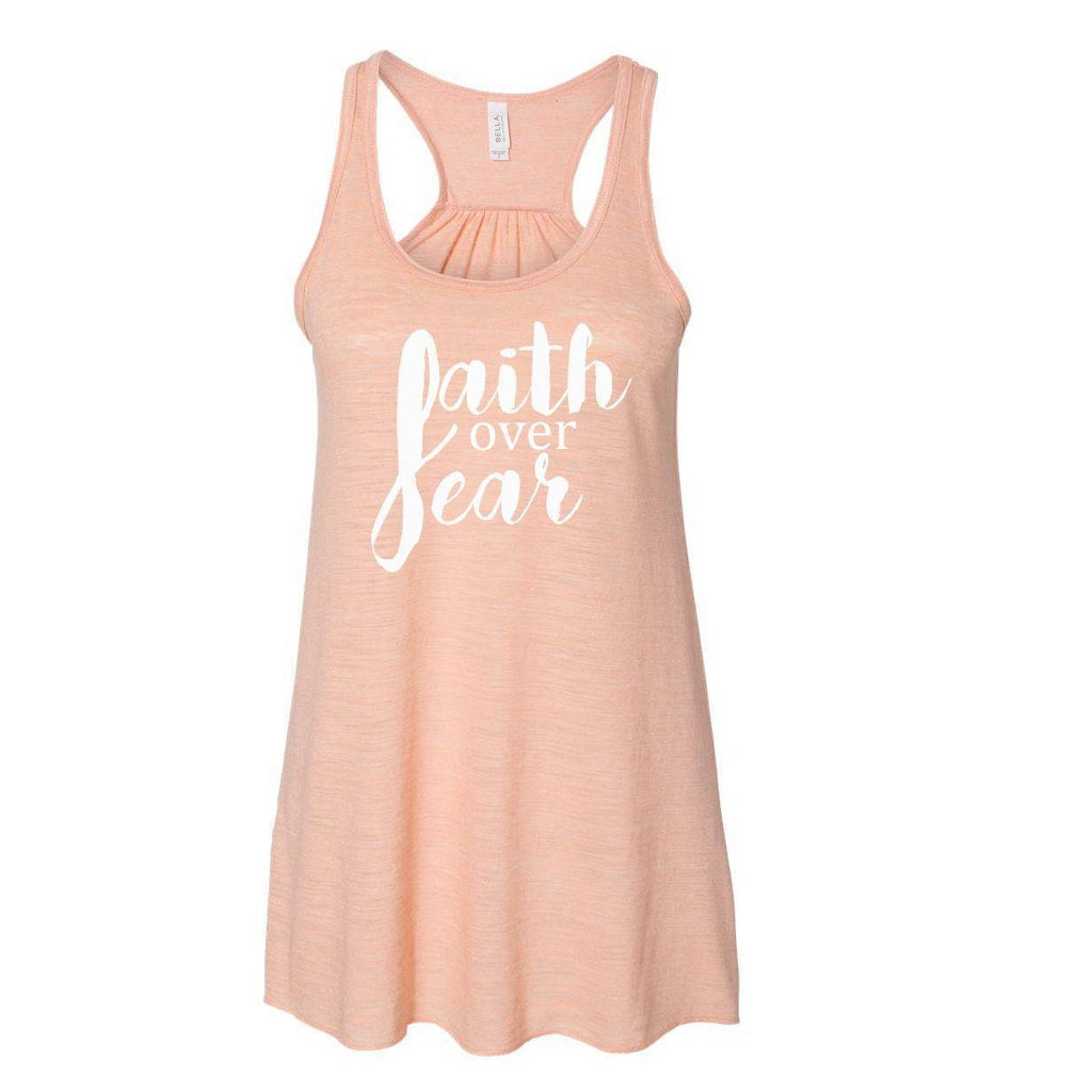 Tank Tops - Faith Over Fear Women's Christian Flowy Racerback Tank Top