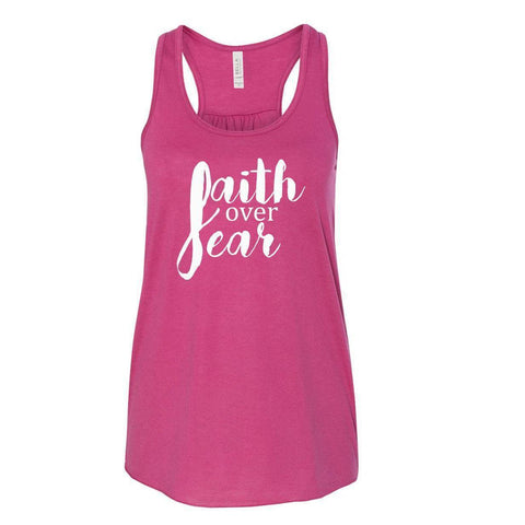 Image of Tank Tops - Faith Over Fear Women's Christian Flowy Racerback Tank Top