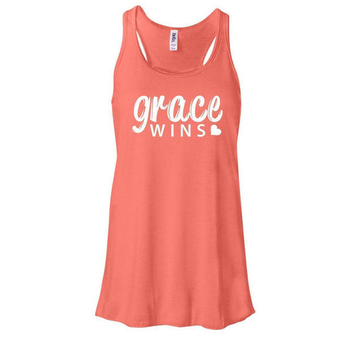 Image of Tank Tops - Grace Wins Women's Christian Flowy Racerback Tank Top
