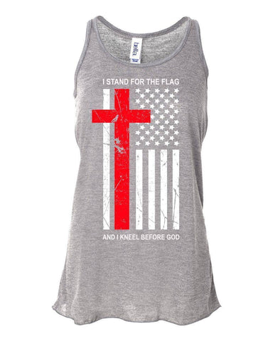 Image of Tank Tops - Kneel Before God Women's Christian Flowy Racerback Tank Top