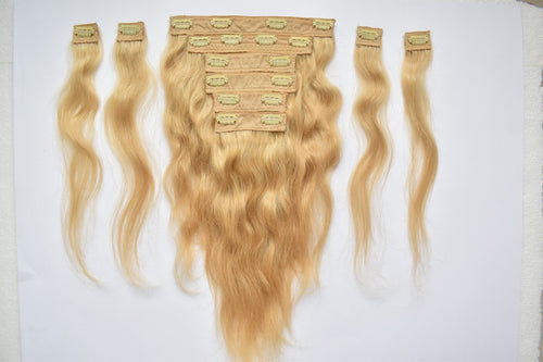 Blonde Hair Clip on Extension 18