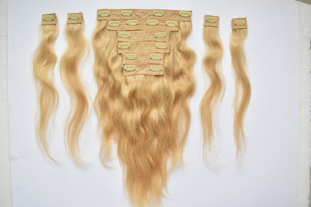 Blonde Hair Clip on Extension 16