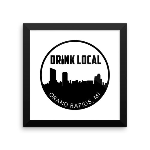 Grand Rapids, MI Drink Local Skyline Framed Poster