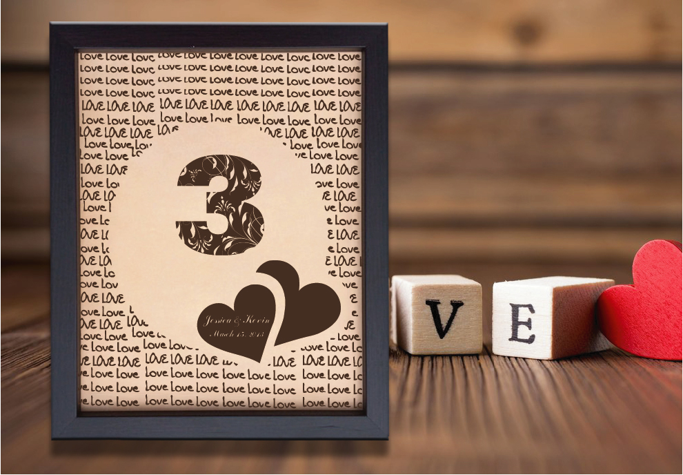 Lik158 Leather Engraved Wedding 3rd Anniversary Personalized Gift Name Stickersforlife
