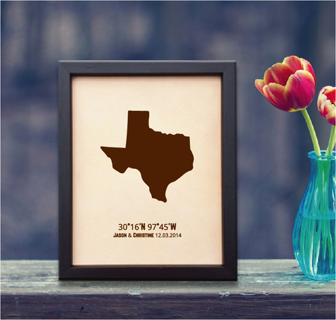 Lik332 Leather Engraved Wedding Third Anniversary austin texas map Longitude Latitude personalized gift place date wedding