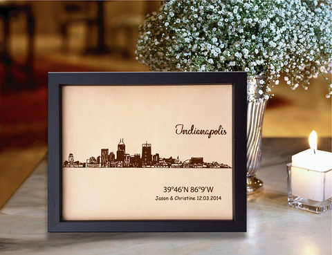 Lik366 Leather Engraved Wedding Third Anniversary indianapolis Longitude Latitude personalized gift place wedding date wedding names