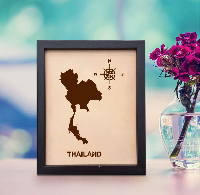 Lik386 Leather Engraved Wedding Third Anniversary Thailand map Longitude Latitude personalized gift place wedding date wedding names