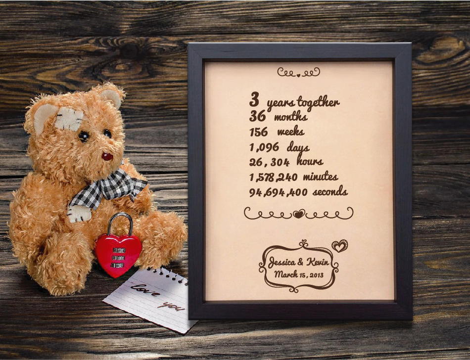 3rd Wedding Anniversary Gift.Lik92 Leather Engraved Wedding Third Anniversary Gift Three Years Time Week Month Personalized Gift