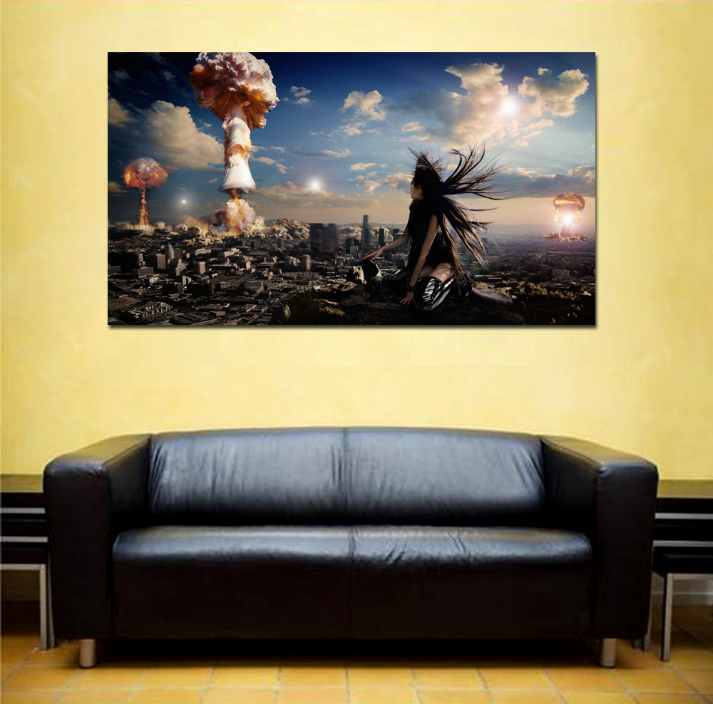 canik105 Canvas Print Stretched Wrapped nuclear explosion war city girl 26x48""