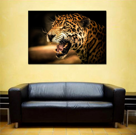 canik107 Canvas Print Stretched Wrapped Leopard africa animal cat grin 26x40""