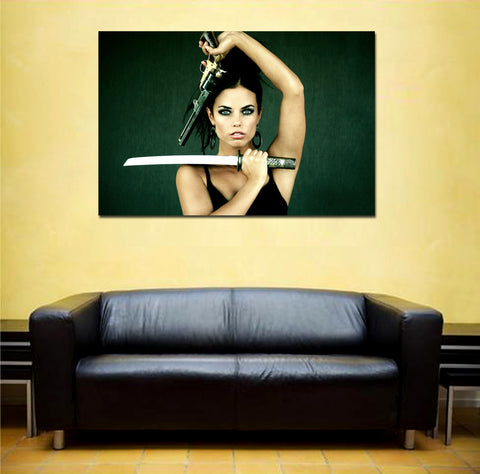 canik108 Canvas Print Stretched Wrapped beautiful girl gun sword weapon 26x40""
