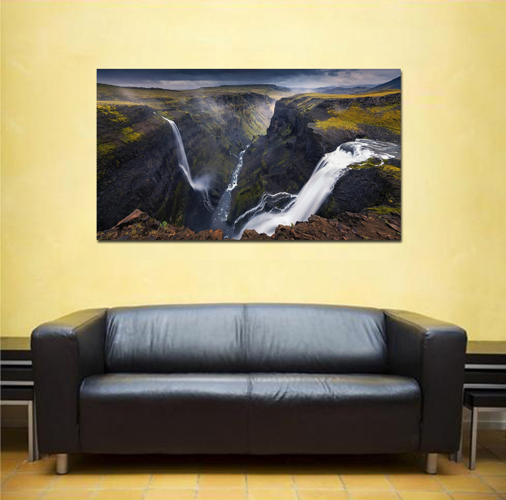 canik11 Canvas Print Stretched Wrapped waterfall cliff 26x48""