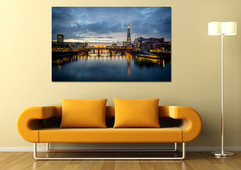 canik122 Canvas Print Stretched Wrapped night city england river bridge 26x43""
