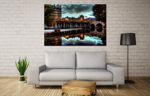 canik123 Canvas Print Stretched Wrapped old city England River Bridge 26x40""