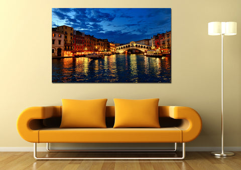canik124 Canvas Print Stretched Wrapped city night venice bridge 26x43""