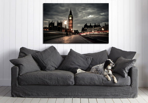 canik126 Canvas Print Stretched Wrapped England London Big Ben night 26x43""