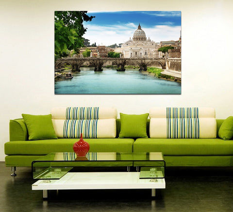 canik128 Canvas Print Stretched Wrapped Italy Rome old bridge 26x41""