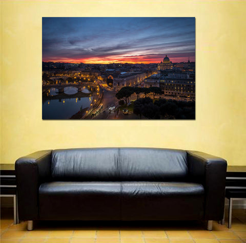 canik129 Canvas Print Stretched Wrapped Italy Rome river bridge night 26x40""