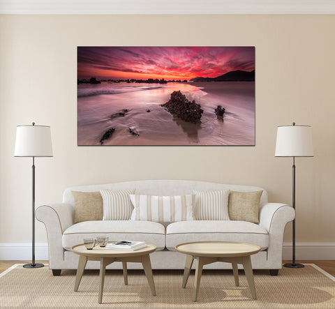 canik12 Canvas Print Stretched Wrapped sunset ocean beach sand 26x48""
