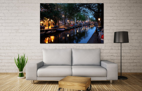 canik130 Canvas Print Stretched Wrapped Amsterdam canal bridge river 26x44