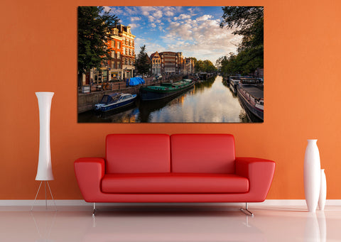 canik131 Canvas Print Stretched Wrapped Amsterdam canal bridge river 26x44