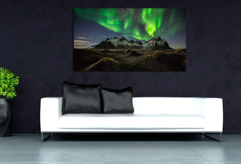canik13 Canvas Print Stretched Wrapped Northern Lights Alaska Mountain 26x48""