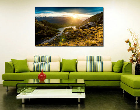 canik145 Canvas Print Stretched landscape mountain river sunset 26x43""