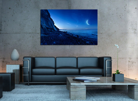 canik154 Canvas Print Stretched Mountain landscape moon night ocean 26x43""
