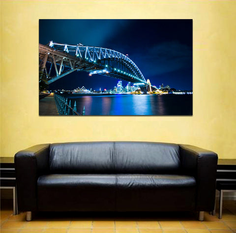 canik161 Canvas Print Stretched Australia City Sydney bridge river night 26x43""