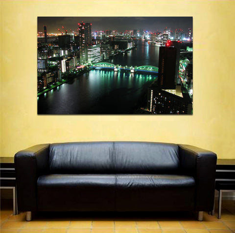 canik162 Canvas Print Stretched Japan Tokyo panorama night 26x43""