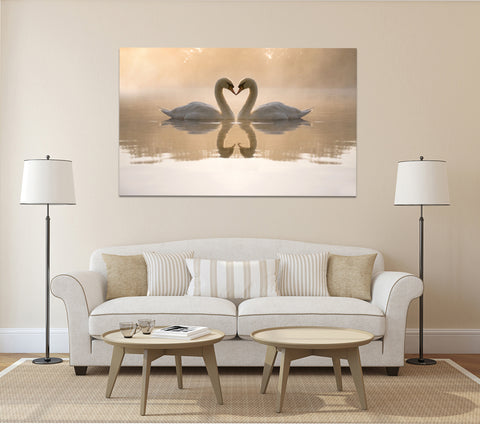 canik163 Canvas Print Stretched bird lake swans couple 26x43""