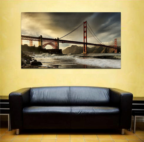 canik169 Canvas Print Stretched city of san francisco golden gate bridge 26x48""