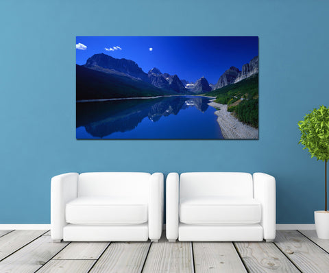 canik171 Canvas Print Stretched Mountain lake landscape 26x48""