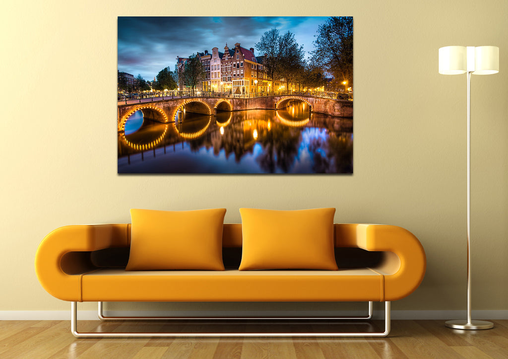 canik174 Canvas Print Stretched Netherlands Amsterdam river bridge night 26x40""