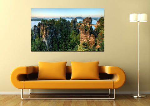 canik175 Canvas Print Stretched Germany bridge rock mountains 26x46""