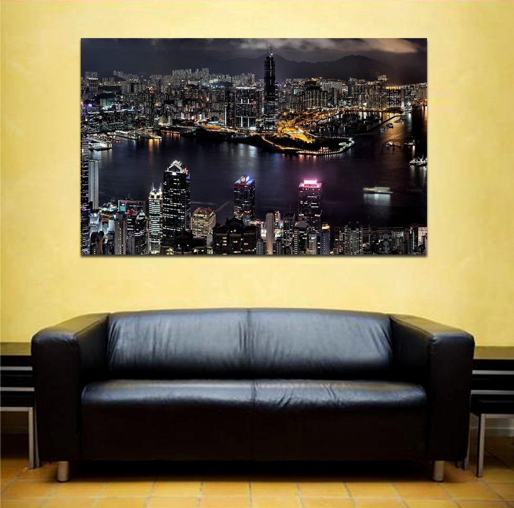 canik180 Canvas Print Stretched China Hong Kong panorama night 26x43""