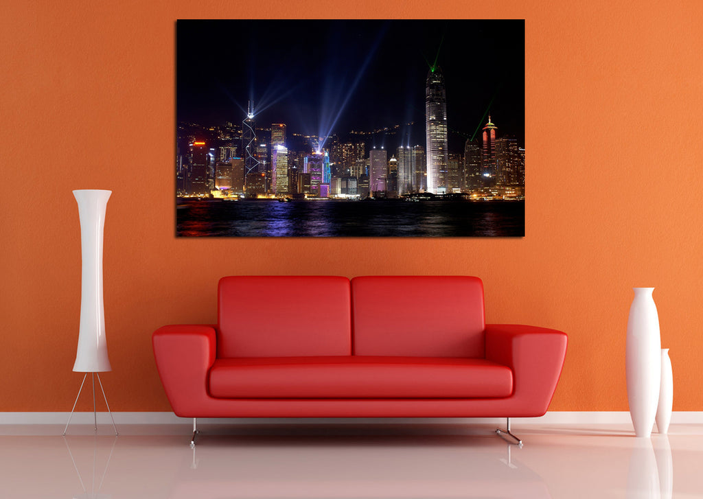 canik181 Canvas Print Stretched China Hong Kong panorama night 26x43""