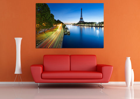 canik182 Canvas Print Stretched Paris Eiffel Tower River 26x40""