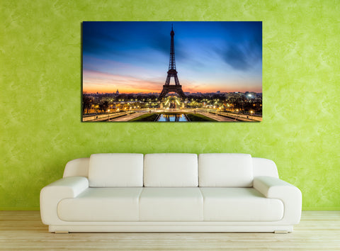 canik18 Canvas Print Stretched Wrapped Paris Eiffel Tower Champs Elysees 26x48""