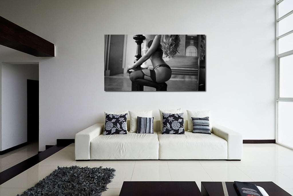 canik1 Canvas Print Stretched Wrapped young blond woman sitting haunches 26x48""
