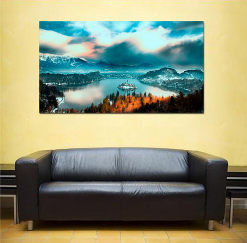 canik6 Canvas Print Stretched Wrapped Lake Bled Slovenian 26x48""
