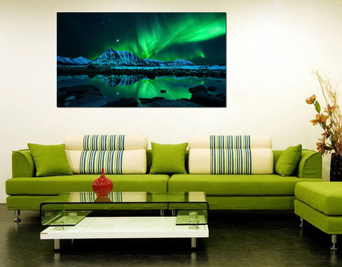 canik7 Canvas Print Stretched Wrapped Mountain Lake Northern Lights 26x48""