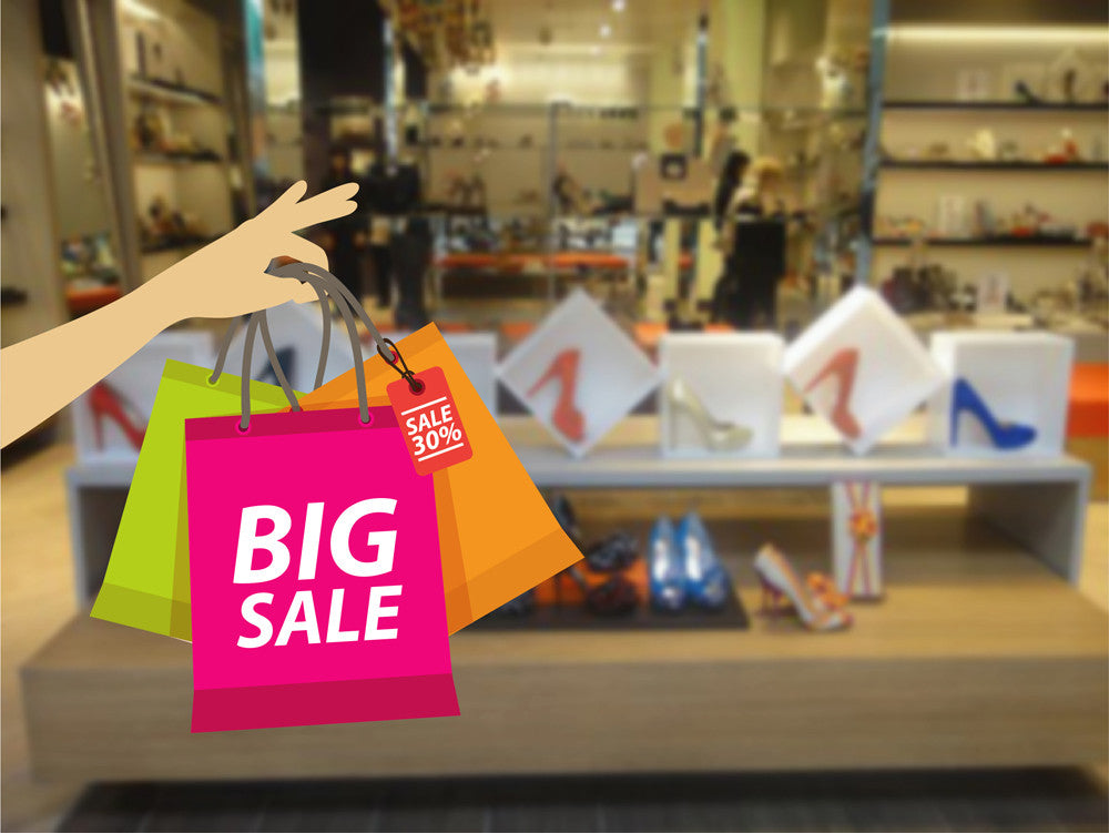 cik1016 Full Color Wall decal big sale packages purchases shop window Showcases