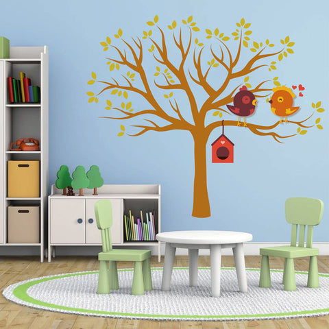 cik101 Full Color Wall decal tree bird birdhouse children's bedroom