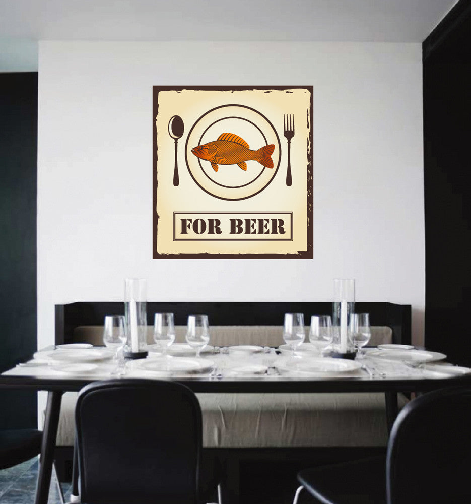 cik1020 Full Color Wall decal fish snack spoon fork restaurant