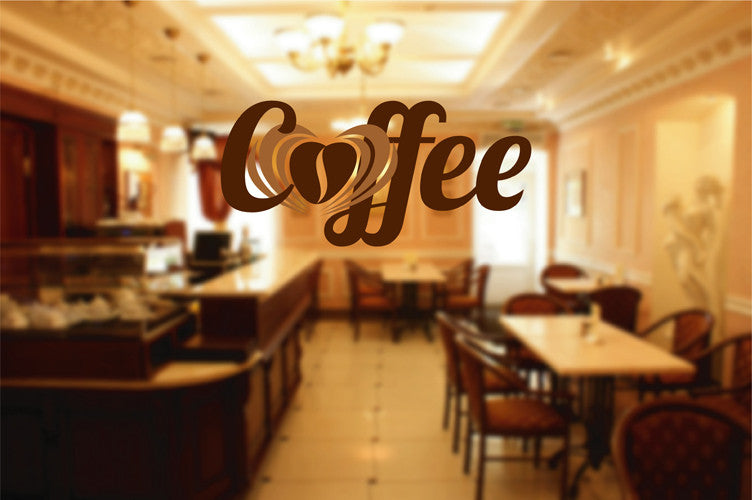 cik1027 Full Color Wall decal coffee grain heart letter coffee shop