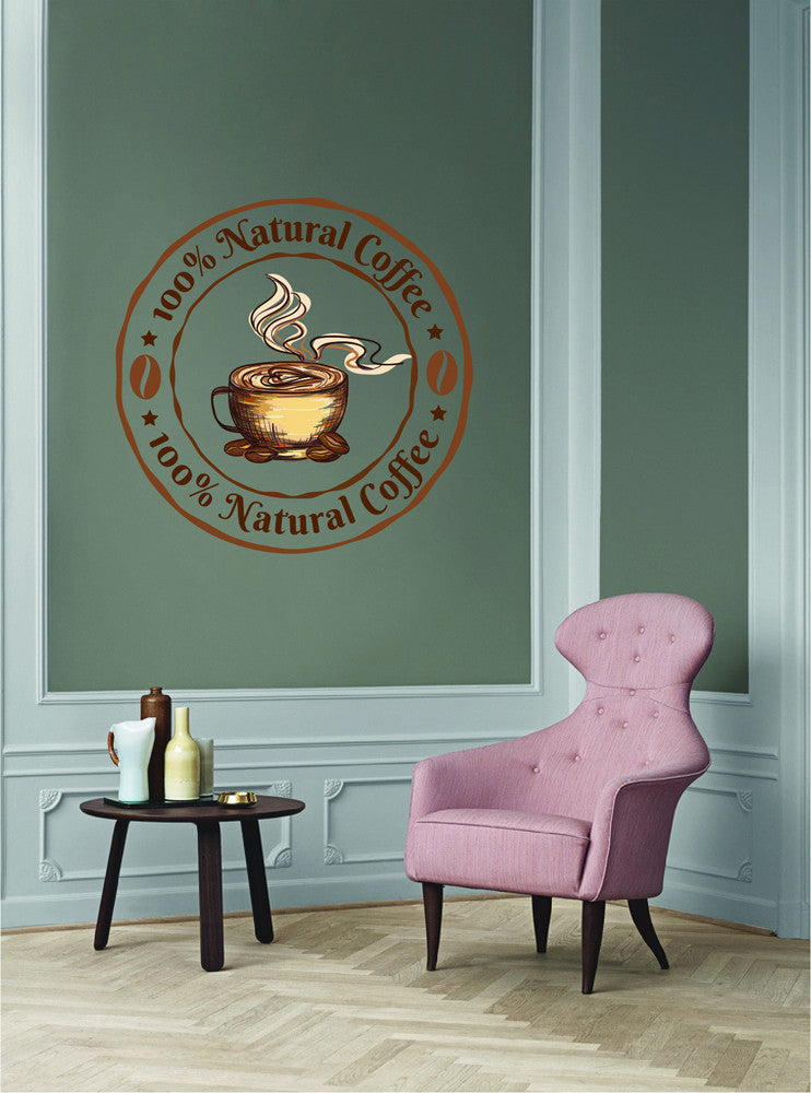 cik1028 Full Color Wall decal organic coffee beans cup coffee shop Snacks Restaurants