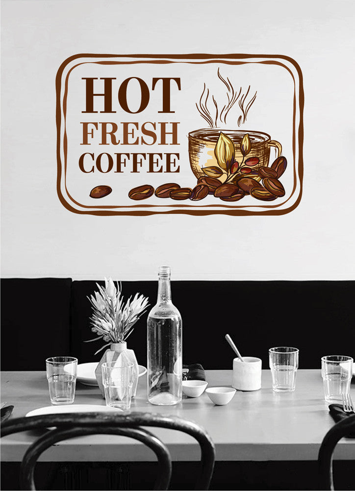cik1029 Full Color Wall decal hot fresh coffee beans cup of coffee shop snack